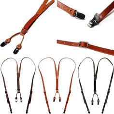 New Genuine Leather Elastic Suspenders Y-Back Cowhide 4Clip-On Adjustable Braces #hellobincom