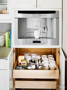 Make mornings easier with an all-in-one coffee station. Dedicate a pullout drawer next to your coffeemaker to holding filters, coffee beans, and travel mugs, so brewing a fresh pot is a one-step task./
