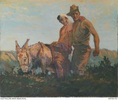 The man with the donkey, Anzac 1915, 1919, George Benson, oil on linen, 128.9 x 148.3 cm, Australian War Memorial.