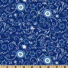 Moda Spa Vines & Flowers Cobalt Blue
