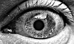 up close drawing of eye in black and white