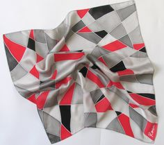 Silk scarf square Shades of colors, natural silk, gift for #women , #grey and #red, hand painted silk scarf square, gift ideas, gift for her    THIS IS PERFECT GIFT FOR SOMEBO... #silkscarf #present