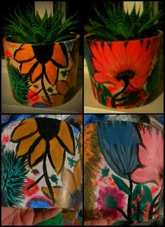 Flowers painted pot by RB