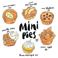 mini pies! #hunniffdoodle #watercolor #draw #drawing #tdac #foodillustrations #illustrations #inking #pies Food Drawing, Daily Drawing, Dessert Illustration, Watercolor Food, Food Painting, Food Backgrounds, Mini Pies, Food Illustrations, Cute Food