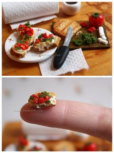 Caprese Bruschetta - Miniature by thinkpastel.deviantart.com on @deviantART #dollhouse #miniature #food