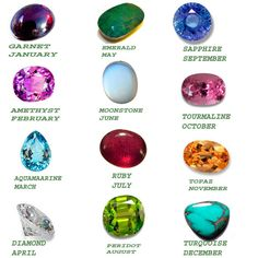 List of Gemstones by month including names and meaning. Every month symbolized with gemstone. The gemstone has the power to control the months.Find the names of gemstone that relate to the month Types Of Crystals, Types Of Stones, Crystals And Gemstones, Stones And Crystals, Gemstones By Color, Names Of Gemstones, Month Gemstones, Gemstones Meanings, Peridot