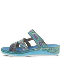 Spring Step Women's Caiman Sandals (Aqua Multi Leather) - 39.0 M
