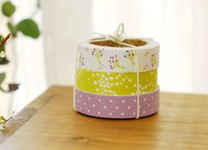 3 SET - Bouquet Fabric Deco Tapes 0.6 inch (adhesive). $12.99, via Etsy.