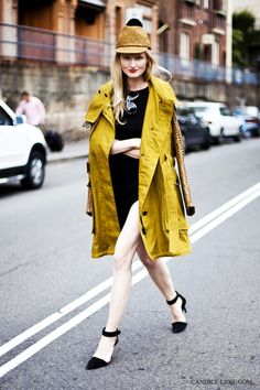 Style Blogger, Candice Lake - looking FAB in this mustard-yellow trench and little black dress with amazing stilettos ♥