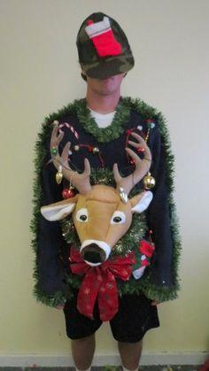 Huge Deer Head Trophy Tangled 3 D Light Up Ugly Christmas Sweater Mens