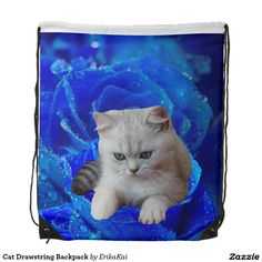 British Cat and Blue Rose Drawstring Backpack #cats #bags