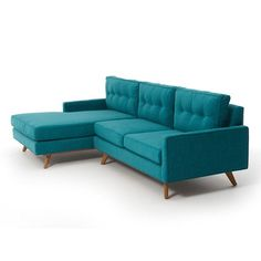 Taylor Sectional sofa from Thrive Home Furnishings. Le Living, Home And Living, Sofa Retro, Mad Men Decor, Living Room Furniture, Home Furniture, Teal Couch, Turquoise Couch, Mid Century Modern Furniture