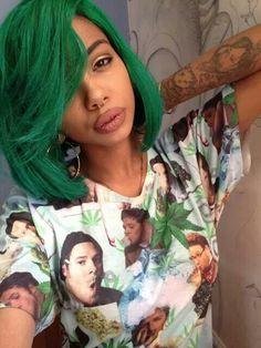 black girl with colorful hair, green hair, black womens inspiration, bob hair