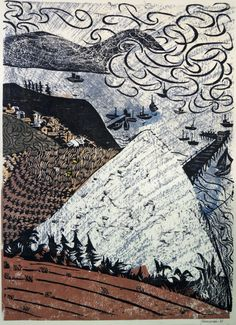 Antonio Frasconi, woodcut, from Santa Barbara triptych