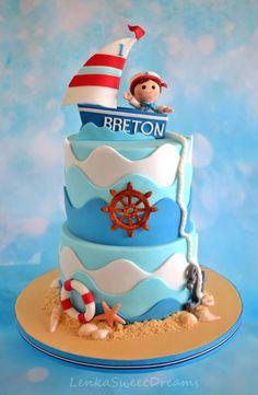 Nautical birthday party cake idea-A cake for a little sailor . Nautical Birthday Cakes, Nautical Wedding Cakes, Nautical Cake, Cake Wedding, Sailor Birthday, Baby Boy First Birthday, First Birthday Cakes, Sailor Cake, Boat Cake