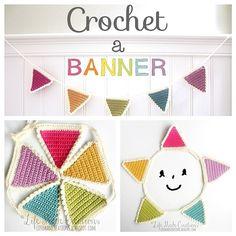 Life Made Creations: { crochet } a banner Crochet Bunting, Crochet Garland, Crochet Decoration, Crochet Home Decor, Crochet Crafts, Crochet Projects, Quick Crochet, Love Crochet, Crochet For Kids