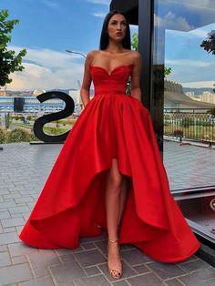 Red Formal Dresses, Pretty Prom Dresses, High Low Prom Dresses, Strapless Dress Formal, Red Dress Prom, Red High Low Dress, Long Dresses, Teen Dresses, Chiffon Dresses
