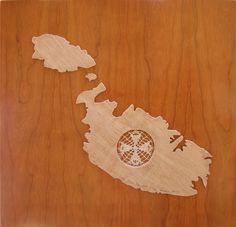 Map of Malta in fret work with Maltese Cross motif in bobbin lace by Marikami