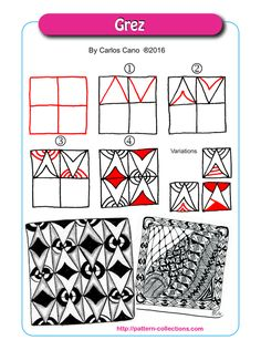 Grez tangle pattern by Carlos Cano PatternCollections.com