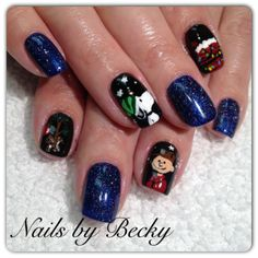 A Charlie Brown Christmas gel manicure