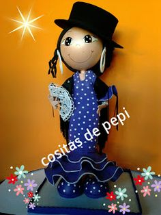 Flamenca Arts And Crafts, Diy Crafts, Clay Dolls, Fairy Dolls, Paper Art, Origami, Minnie Mouse, Projects To Try, Disney Characters