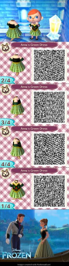 Disney's Frozen cosplay Anna's green dress QR code