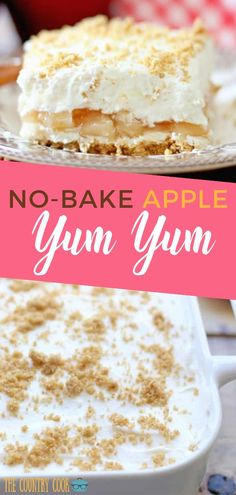 NO-BAKE APPLE YUM YUM (+Video) No-Bake Apple Yum Yum is an easy four layer dessert of graham crackers, apple pie filling, sweetened cream cheese and whipped topping! 13 Desserts, Apple Dessert Recipes, Layered Desserts, Summer Desserts, Apple Recipes, Healthy Desserts, Gourmet Recipes, Cooking Recipes, Easy No Bake Desserts