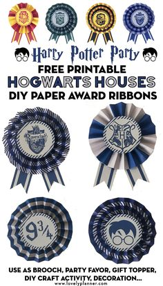 Free Printable Hogwart's Houses DIY Paper Award Ribbons to create awesome party favors or decoration for your Harry Potter Party. Gryffindor, Slytherin, Hufflepuff and Ravenclaw Houses colors included! Many ways to use them: brooch, sorting hat, DIY craft Harry Potter Colors, Harry Potter Theme, Harry Potter Birthday, Harry Potter Diy, Harry Potter Library, Harry Potter Classroom, Printable Activities For Kids, Kid Printables, Ravenclaw