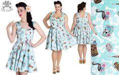 95b651928ae Suki Mini Dress by Hell Bunny - Zombie Tiki   Skele Flamingo Print