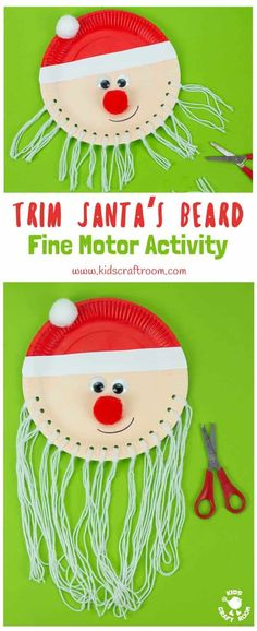 Are you looking for an educational Santa craft idea to enjoy with your toddlers and preschoolers this Christmas? This Trim The Beard Paper Plate Santa Craft is adorably cute and gives kids lots of opportunity to develop their fine motor cutting skills and have fun! #santa #santacrafts #paperplatecrafts #christmas #christmascrafts #christmascraftskids #fatherchristmas #fatherchristmascrafts #kidscrafts #finemotorskills #kidscraftroom via @KidsCraftRoom