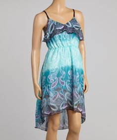 Blue  Purple Paisley Ruffle V-Neck Dress