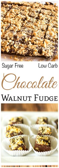 Nut lovers will enjoy this delicious sugar free low carb chocolate walnut fudge. It has the consistency of real fudge and is loaded with chopped nuts.