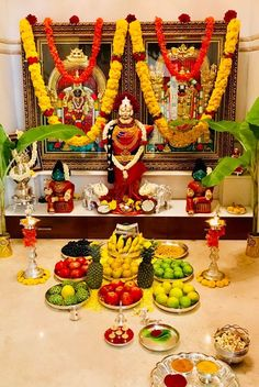 · Decorate the pooja mandapm with Mango leaves & small Banana saplings on both the sides of the mandapam. Gauri Decoration, Thali Decoration Ideas, Diy Diwali Decorations, Festival Decorations, Flower Decorations, Ganesh Chaturthi Decoration, Temple Room, Temple Design For Home, Silver Pooja Items