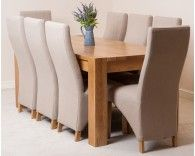 Kuba Solid Oak Dining Table & 8 Oatmeal Lola Fabric Dining Chairs