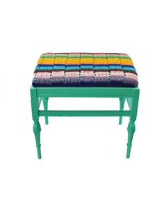 Cari Created this unique bench made from a RePurposed Afghan.  This is a great piece that will add a little texture with a pop of color!  Bench is painted with Benjamin Moore - Monmouth Green - Aura® paint & primer in one.       P.S. This bench does have a past life and has a few character marks which gives it even MORE personality!