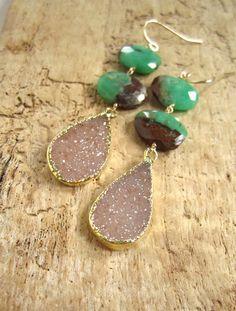 Druzy Earrings Druzy Quartz Chrysoprase Drops by julianneblumlo