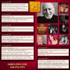 Week of October 20th, 2014 performance schedule. Click to buy tickets.
