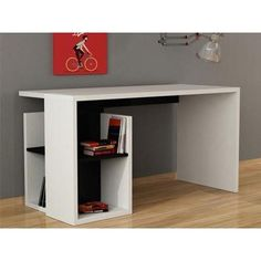 WORMS desk. White Black, White Red, White colour options. Unique in style. Hidden shelving. 2 years parts warranty. www.modernfurnituredeals.co.uk