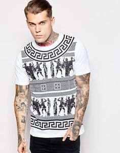 fbb861049ac3 ASOS Longline T-Shirt With Aztec Print In Relaxed Skater Fit Aztec T Shirts