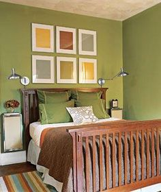 23 Decorating Tricks for Your Bedroom Work the Walls Nightstands and adjustable lamps affixed to walls smartly save space in a small room. Real Simple Green bedroom with wood bedframe Bedroom Green, Home Bedroom, Bedroom Furniture, Home Furniture, Bedroom Decor, Bedroom Ideas, Bedroom Makeovers, Master Bedroom, Rustic Furniture