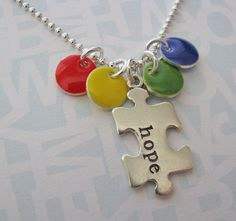 NEW  autism awareness puzzle piece necklace  hand by juliethefish, $36.00