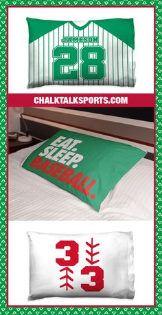 Create decor that delights with our custom printed baseball pillowcases! Add a unique touch to your favorite player's bedroom, and make it one that they'll cherish forever. Choose a simple design, or one with player's name and number - the possibilities are endless! Baseball Room Decor, Gifts For Baseball Players, Personalised Frames, Room Signs, Pillowcases, Simple Designs, Bed Pillows, Number, Touch