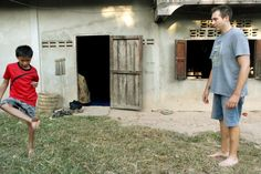 Leisurely game of hacky sack in Ban Na, Laos http://twistedfootsteps.com/vientiane-ban-na-homestaying-hiking-puking/