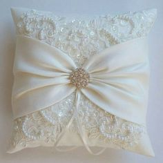 Wedding Pillow, Wedding Cushion, Lace Pillow, Ivory Satin and Beaded Alencon Lace, Ivory Satin Sash Cinched by Crystals - The MIRANDA Pillow -The MIRANDA is an ivory matte satin ringbearer pillow decorated with pearled and sequined alencon .Wedding P Wedding Ring Cushion, Wedding Pillows, Cushion Ring, Diy Pillows, Decorative Pillows, Cushions, Lace Pillows, Sewing Crafts, Sewing Projects