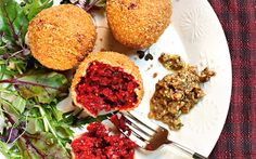 The new vegetarian: beetroot and ricotta croquettes with piquant salsa agresto - Telegraph