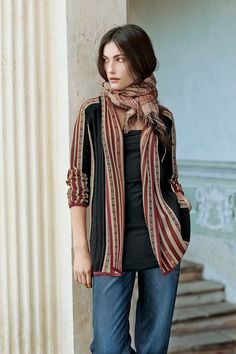 Love the colors on this one! Chinchero Cardigan, Black Long Tank, Crossroads Plaid Shawl