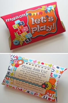 cute playdate invitation ideas. Put something in the roll/pkg that they need to bring to the playdate with them
