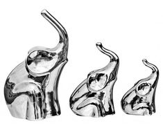 Platinum Set of Three Elephants Sculpture, CP1
