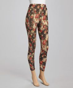 Take a look at this Red Floral Leggings by Hadari on #zulily today!