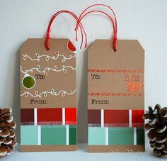 In My Creative Opinion: 25 Days of Christmas Tags - Day paint chips 25 Days Of Christmas, Christmas Tag, Xmas, Christmas Ideas, Paint Samples, Paint Chips, Winter Theme, Fun Crafts, Gift Tags